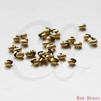 200 Pieces  Raw Brass Ball Chain Endings-Clam-Knot Cover-Side Open 1mm 341C