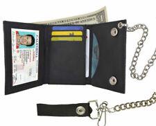 BLACK GENUINE LEATHER Biker's Mens Trifold Wallet Metal Chain ID Card Holder