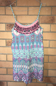 Camilla Franks Beach House Blue Pink Shoestring Playsuit Size 1 Small $4 EXPRESS