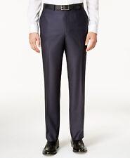 $210 KENNETH COLE men BLUE SLIM FIT FLAT FRONT DRESS SUIT PANTS 33 W 32 L