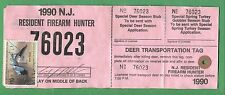New Jersey 1990 Resident Firearm Hunting License / Rw55 Federal Duck Stamp - 318