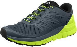 Salomon Men's Sense PRO MAX Trail Shoe, Stormy Weather/Lime/Black, 12 D(M) US