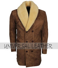 Men's Classic Distressed Brown Bane fur Lined Winter Leather Coat Costume
