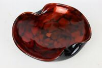 Vintage Murano Blown Art Glass Black / Orange Copper Aventurine Crimped Bowl
