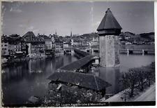 Schweiz, Luzern, Kapellbrücke und Wasserturm  Vintage citrate print. Vintage Swi