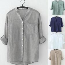 Women's Oversized Loose Casual Long Sleeve Tops Linen Shirt Blouse T-Shirt AU
