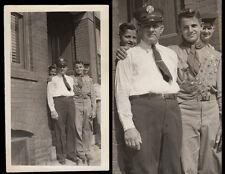 BOY SCOUT UNIFORM EAGLE SCOUT BADGES BOY & FIREMAN DAD ~ 1920s VINTAGE PHOTO