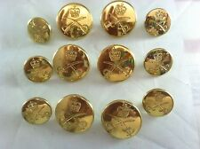 12 Polished Fine  Gold Crest Crown Sword  Button Set