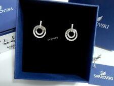 Swarovski Circle Pierced Earrings, Medium, White Clear Crystal Authentic 5349203