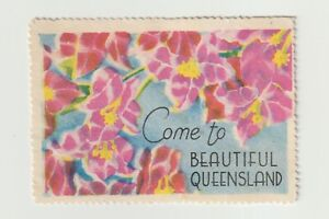 """Australia- """"Come to Beautiful Queensland"""" poster stamp NO gum SEE SCANS"""