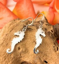 Sterling Silver Seahorse Drop Earrings, Solid 925, Christmas Gift