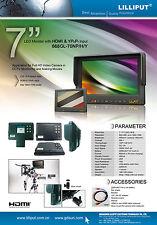"""7 """" HD Monitor 1080p Video Gerät Hahn HDMI für Canon Hvx-200 Gopro Hero Sony"""