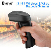 Eyoyo 3 in 1 2.4G Wireless Bluetooth Barcode Scanner Bar Code Reader fr iPad Mac