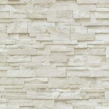 Erismann 3D Effect Brick Wallpaper Beige Stone Tile Rustic Vinyl Paste Wall