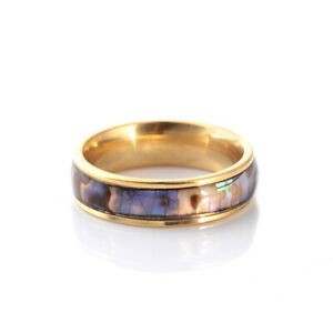 Fashion Stainless Steel Multicolour Shell Ring Couple Band Ring Gorgeous Jewelry