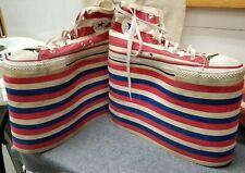 Vintage Converse Platform Shoes, OOAK size 9.5, Patriotic