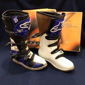 Sz 11 Alpinestar tech 6 Racing Boots Blue Black White Solid w little wear 45.5EU