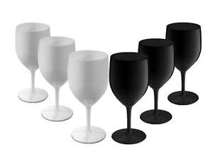Elite Premium Black and White Unbreakable Reusable Polycarbonate Wine Glasses