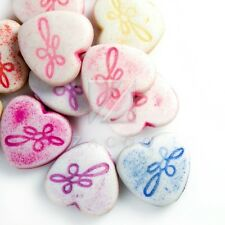 66pcs Flat Heart Acrylic Beads Charms Jewelry Making 12x12x4.5mm Assorted Color
