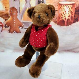 "10"" Teddy Bear Plush Commonwealth 2001 Red Polka Dot vest bow tie HTF"