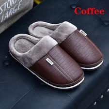 Coffee 42 Men Anti-Skid Indoor PU Leather Winter Warm Plush Home Shoe Waterproof