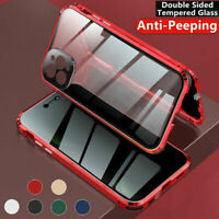 For iPhone 12 11 Pro Max 360 Magnetic Tempered Glass Case Anti Spy Privacy Cover