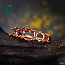 Round 14k Rose Gold  Classic 3 stones Semi Mount Ring Engagement For Women