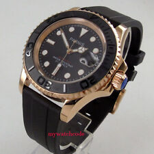 41mm PARNIS black dial Sapphire glass golden case miyota automatic mens watch