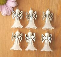 6x Large White Angel Charms Frosted Flowers Beads Xmas Tree Decoration