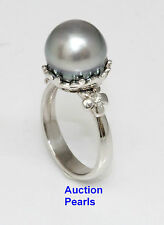Diamond Tahitian South Sea Pearl Ring 18kt Gold 11 mm