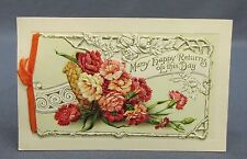 Antique Postcard Winsch Birthday Greetings Happy Returns Carnations Cut Out