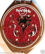 Hard Rock Cafe HONOLULU Compact MIRROR Tattoo Music Notes Over Red Glitter NEW!