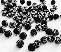 LOT 6 BOUTONS RONDS STRASS CRISTAL NOIR A COUDRE COUTURE 10mm LAYETTE GILET