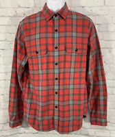 J.Crew Mens Red Long Sleeve Button Up Plaid Flannel Shirt Size Medium Pockets