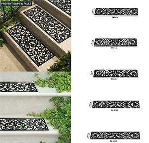 Set of 4 Iron Effect Rubber Stair Treads Non Slip Anti Trip Garden OutDoor Stair