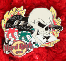 Hard Rock Cafe Pin Foxwoods SKULL Casino poker chips guitar card logo hat lapel