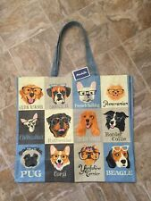 NEW DOGS WITH GLASSES Large Shopping Bag Reusable Travel Tote Eco Marshalls NWT