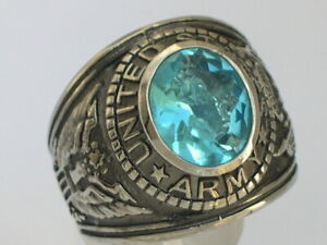 Stainless Steel United States Army Military March Aqua Marine Men Ring Size 7