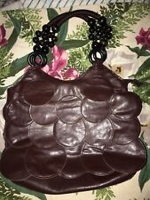 Vintage Chocolate Leather Fish Scale Purse with beaded handles