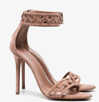 AUTH New ALAIA NUDE LIGHT BROWN SAND SUADE ANKLE SANDALS SHOES 38EU / 7.5 - 8 US
