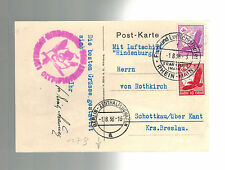 1936 Germany Hindenburg LZ 129 Zeppelin Olympics Picture Postcard Cover Breslau