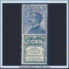 1924 Italia Regno Pubblicitari COEN cent. 25 azzurro e verde n. 5 Usato [x]