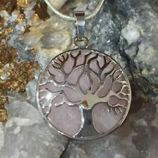 Rose Quartz Tree of Life Necklace Gemstone Pendant Crystal healing