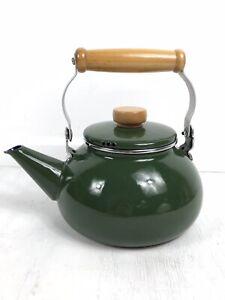 Retro Enamel Stove Top Teapot Kettle, Green, Wooden Handle, 2.5 Pints, VGC
