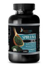 Blue Green Algae Organic Spirulina Chlorella Powder 500mg 1 B, 60 Capsules