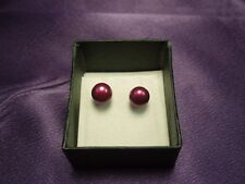 Honora Cultured Pearl Stud Earrings Purple Color Stainless Steel with Box