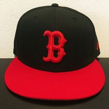 NWOT New Era Boston Red Sox MLB 59Fifty Fitted Hat Black Red Size 7 1/4