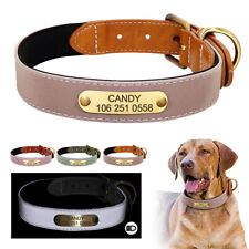 Leather Pet Collars for Dogs Personalized ID Nameplate Engraved Reflective S-2XL