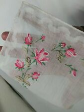 Embroidered Floral Pink Tulips Hankie Vintage Fine Cotton - Linen Real Antique!