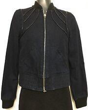 Armani Exchange Zip Up Women Denim Bomber  Jacket Leather Line Design Sz Small